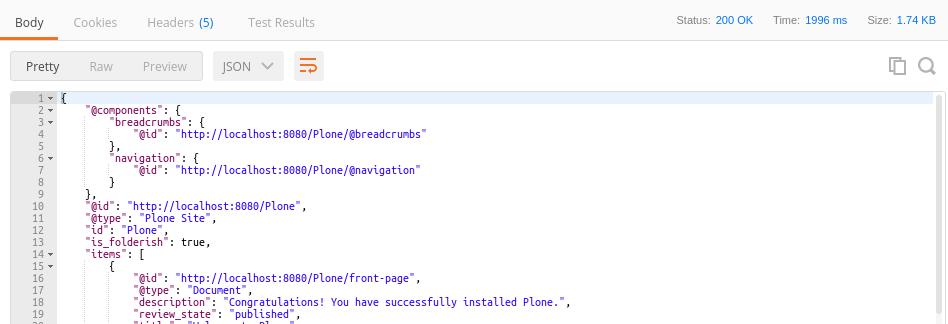 Explore the API using Postman — plone restapi 1 0a1